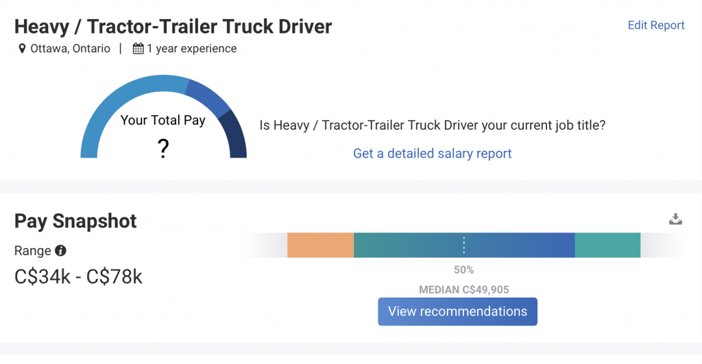 truck driver salary Ontario